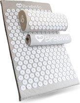 BrellaVio® Spijkermat met Spijkerkussen en Topper - Grijs - 68x42 cm - Acupressuur Mat - Massage Kussen