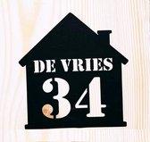 Van hout gemaakte naambord voordeur - 16x16cm - Huis