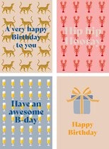 Fabrique a la Carte Wenskaartenset Verjaardagskaart 16 stuks - Birthday Print - Blanco