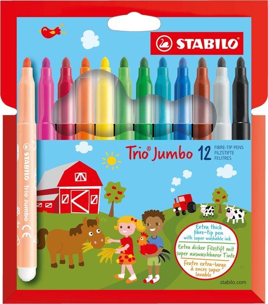STABILO Trio Jumbo XXL Viltstiften -Etui 12 Kleuren