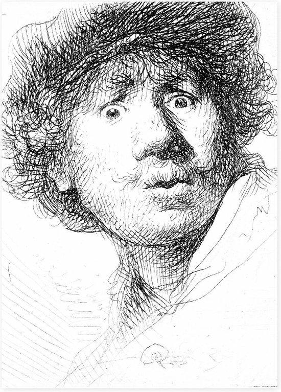 Theedoek , Zelfportret met verbaasde blik , Rembrandt