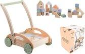 Loopkarretje met blokken-Duwwagen-Baby walker-Baby-Loopauto-Looprek-Blokkenset