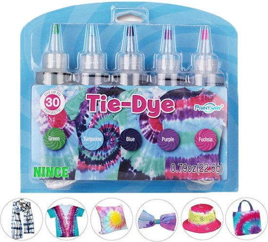 Nince Tie-Dye kit van hoge kwaliteit Kit 4 - Complete kit van 5 kleuren textiel - Tie Dye set - Tie Dye verf premium kwaliteit