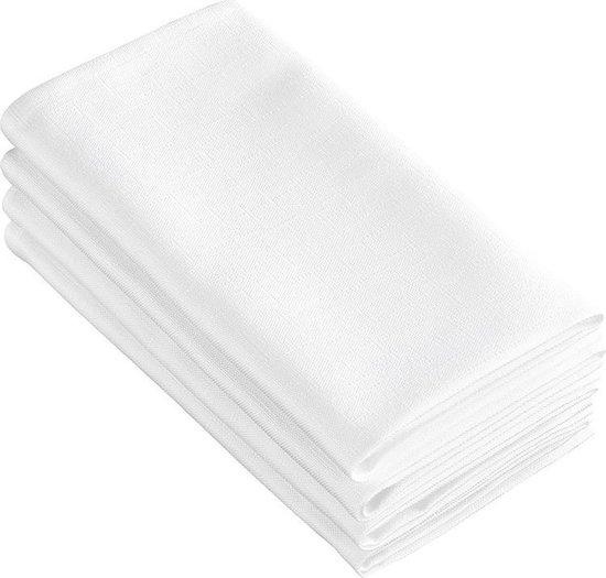 De Witte Lietaer Servetten Sonora 50 X 50 Cm Katoen Wit 4 Stuks