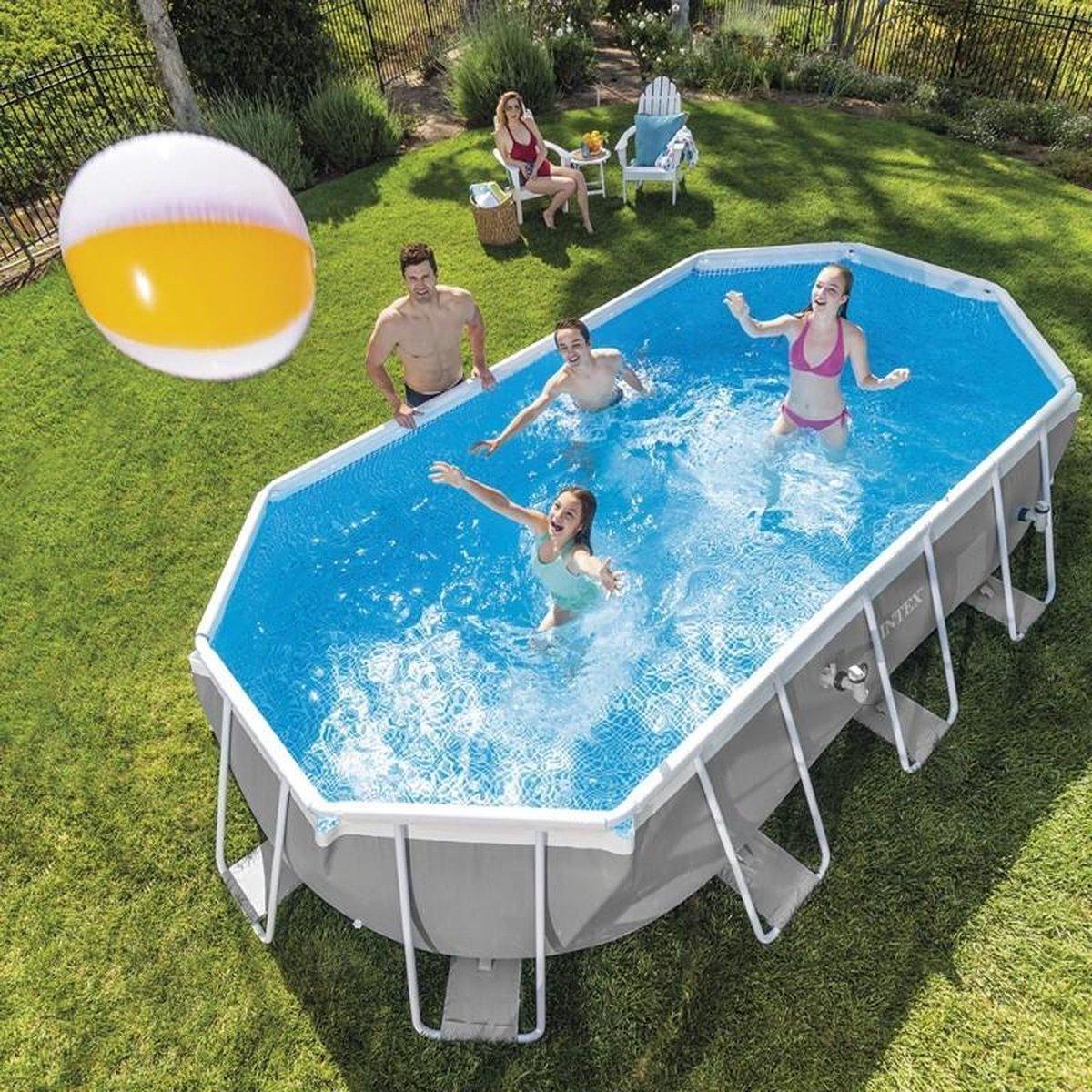 Intex Prism Oval frame zwembad - 503 x 274 x 122 cm - Opzetzwembad met filterpomp