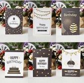 6X Verjaardagskaart Happy Birthday - Kaart verjaardag - Wenskaart - 6X Gevouwen Kaarten Met Enveloppen