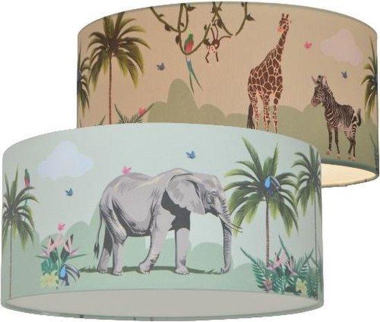 Jungle Lamp Land of Kids | Kinderkamer plafonnière | Jungle Dieren | Kinderlamp | Dieren Decoratie | Plafondlamp | Olifant | Giraf & Zebra