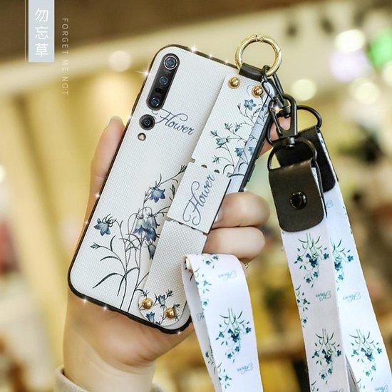 Voor Xiaomi Mi 10 Bloemendoekpatroon Schokbestendig TPU-hoesje met houder en polsband en neklijn (wit)
