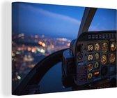Cockpit van een vliegtuig in de nacht canvas 180x120 cm - Foto print op Canvas schilderij (Wanddecoratie woonkamer / slaapkamer) XXL / Groot formaat!