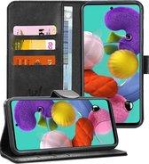 Samsung A51 Hoesje - Samsung Galaxy A51 Hoesje Book Case Leer Wallet - Zwart