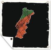 Illustratie van Portugal in de kleuren van de vlag tegen een zwarte achtergrond tuinposter 100x100 cm - Tuindoek / Buitencanvas / Schilderijen voor buiten (tuin decoratie)