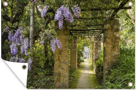 Blauweregen in een schaduwpad tuinposter 180x120 cm - Tuindoek / Buitencanvas / Schilderijen voor buiten (tuin decoratie) XXL / Groot formaat!