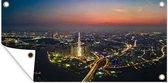 Luchtfoto van Ho Chi Minhstad met Landmark 81 in de nacht 160x80 cm