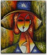Handgeschilderd schilderij Olieverf op Canvas - Pablo Picasso 'Dame met Hoed'