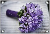 Tuinposter –Paarse Bos Bloemen– 60x40 Foto op Tuinposter (wanddecoratie voor buiten en binnen)