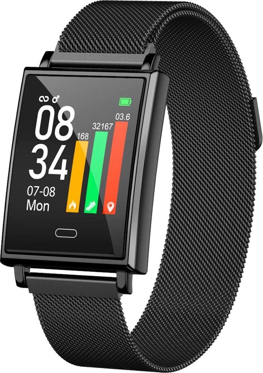 Belesy® Square - Smartwatch Dames - Smartwatch Heren - Horloge - Stappenteller - Bloeddruk - Calorieën - 1.3 inch - Kleurenscherm -  Milanees - Staal - Zwart kopen