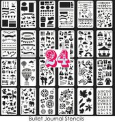 Stencils Bullet Journal - 24 stuks - Stencils en Sjablonen - Bullet Journal Producten