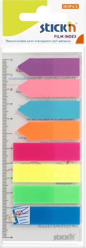 Afbeelding van Film Index Stickn 45x12mm op flexibele liniaal met millimeter aanduiding, 4x recht, 4x pijlvormig, assorti kleuren, 200 index