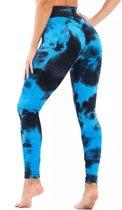 Sportlegging – Olamee – Tie Dye - Anti Cellulite Legging - Absorberend - Yoga – Fitness – Vrije tijd - Scrunch Butt - High Waist - Gym Sports Wear – Elastisch – Tweede huid – Platte buik – A Kwaliteit – Rondere billen – Smallere taille-Blauw/Zwart-XL
