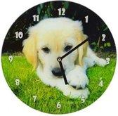 Glazen wandklok hond 30,5 cm Klok