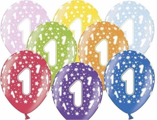 12x stuks verjaardag ballonnen 1 jaar thema met sterretjes - Feestartikelen/versiering