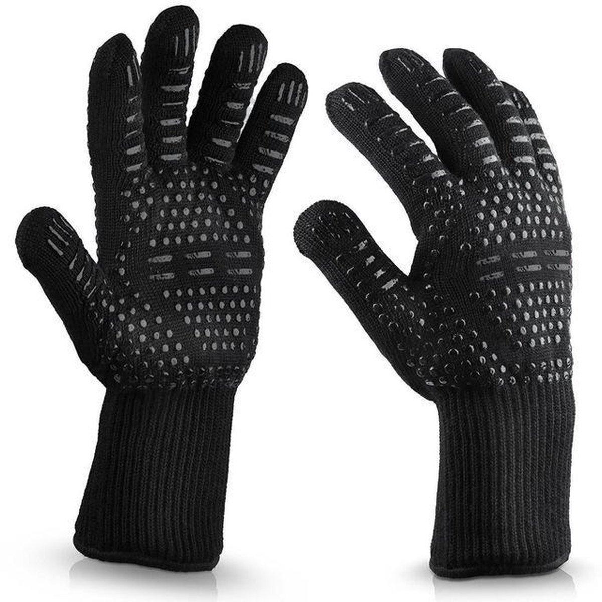 RX Goods  2 Stuks Antislip BBQ & Oven Veiligheid Handschoenen   Hittebestendige Dubbele Voering - Zw