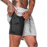 MW Sportbroekje voor Heren - Gym broek met binnenzak voor mobiel - 2 in 1 Pocket Shorts - Running, Fitness, Sport broekje - Quick Dry - Mobiel Zak (Grijs - Maat M)