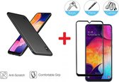 2-In-1 Screenprotector Bescherming Protector Set Voor Samsung Galaxy A10 - Full Cover 3D Edge Tempered Glass Screen Protector Met Siliconen Back Cover Case - Mat Zwart / Transparant