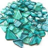 Mozaïek Soft glass glitter Groen/Blauw Aqua mix