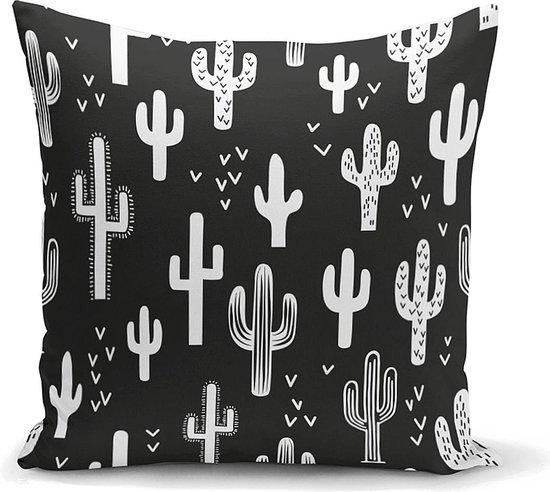 Woonkamer decoratieve sierkussen zwarte en wit cactus - Kussens woonkamer - Binnen of Buiten decoratie sierkussens 45x45cm