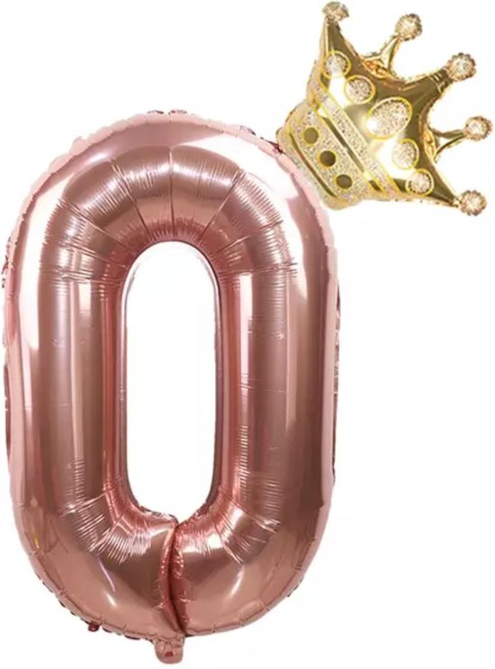 Folie ballon cijfer 0 rosé goud met gouden kroon