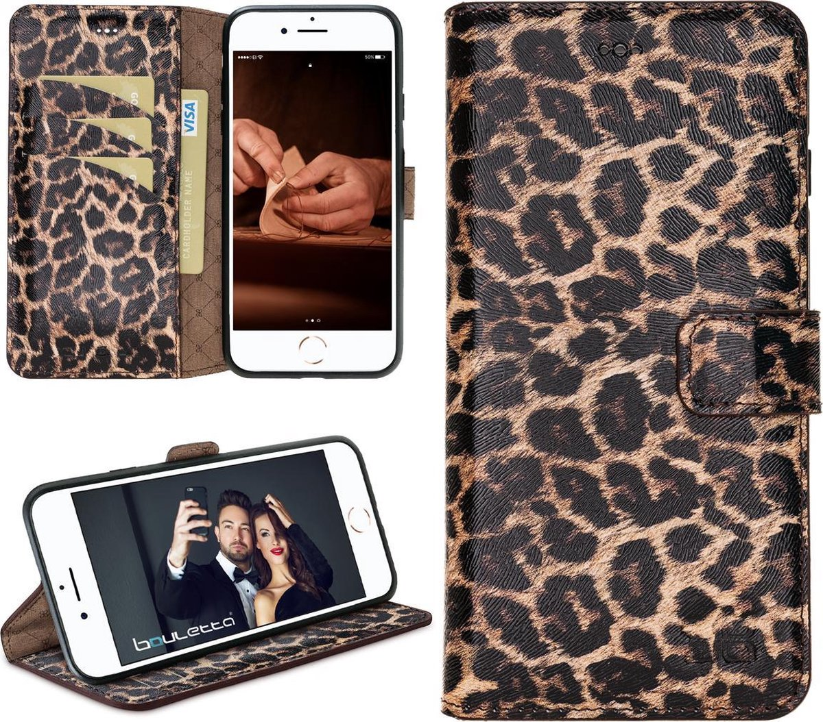 Afbeelding van product Bouletta - New iPhone SE (2020) - BookCase - Smooth Leopard