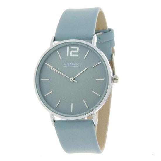 Ernest dames horloge – RVS – PU band – Mineraal glas – Quartz – Nikkelvrij – 40mm – Ijsblauw