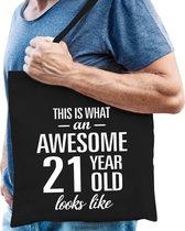Awesome 21 year / geweldig 21 jaar cadeau tas zwart voor heren - kado tas / verjaardag tasje / shopper
