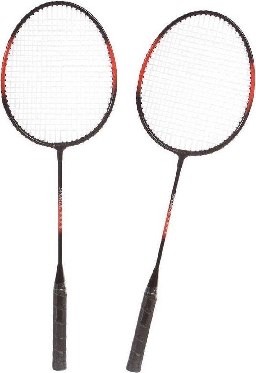 Badmintonset rood/zwart met rackets shuttles en opbergtas 66 cm - voordelige badminton set