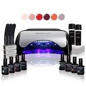 Gellak - MEANAIL® Kit Ruby - UV/Led lamp 48w – 6 kleuren Cruelty Free - Gel nagellak