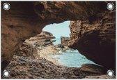 Tuinposter –Zee vanaf de Rotsen– 120x80 Foto op Tuinposter (wanddecoratie voor buiten en binnen)