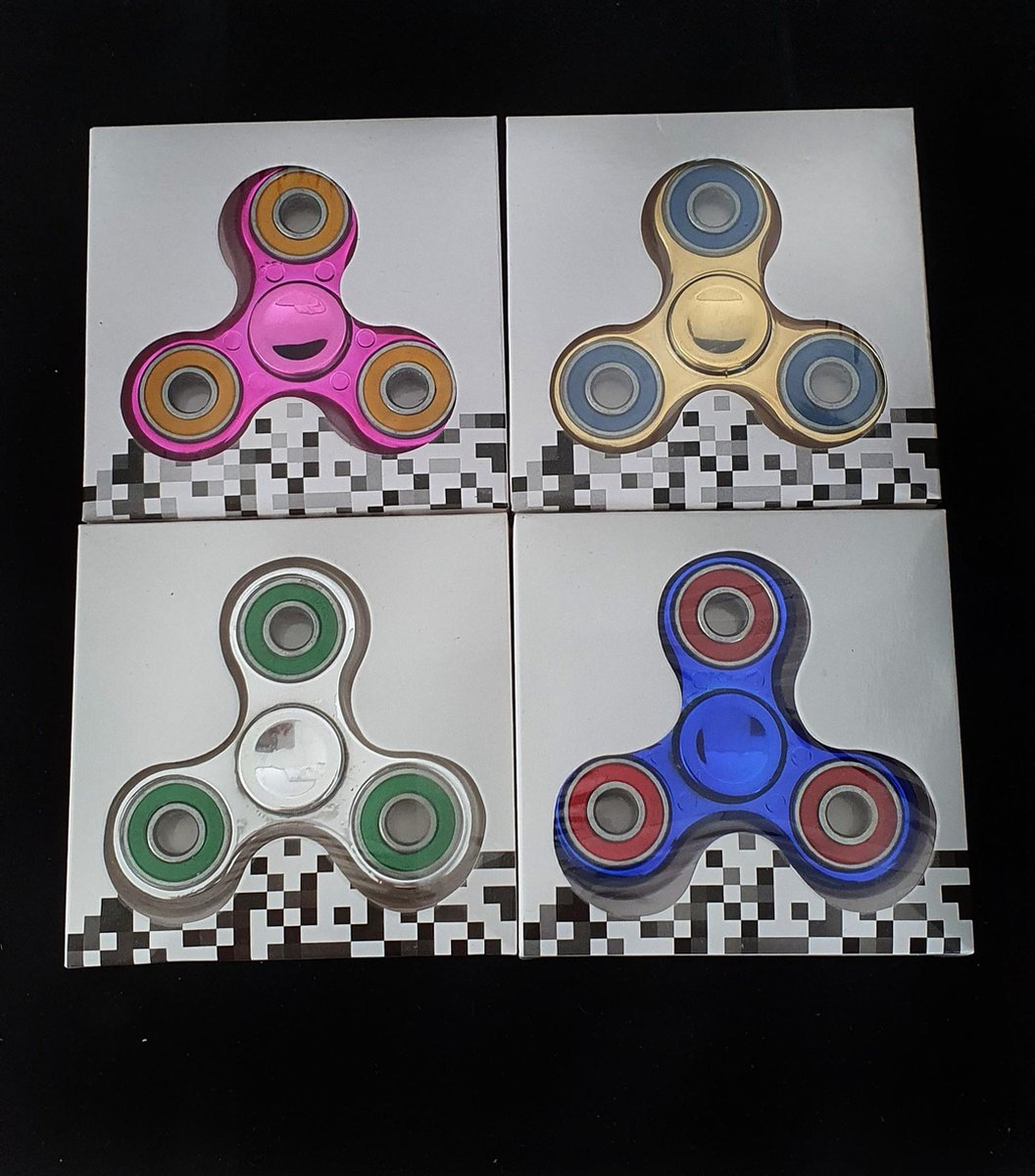 Flip spinners Box van 24 stuks groot verpakking  kleur Goud, Zilver, Donker rose, Donker blauw