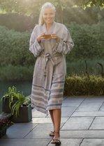ANATURES Badjas BORA L/XL | Unisex hamam badjas, dames en heren ochtendjas, sauna kimono| FairTrade - Biologische katoen | DENIM BLAUW