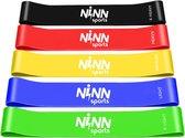 NINN Sports Zwart - Premium Weerstandsbanden van hoge kwaliteit - Set van 5 Resistance Banden - Fitness Elastiek - Inclusief eBook