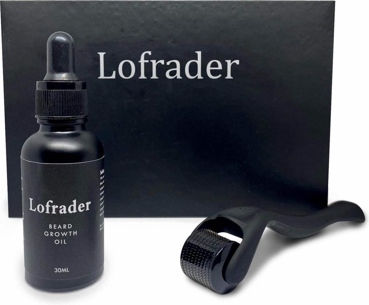 Lofrader Baardgroei Olie met DermaRoller - Baardolie - Derma Roller - Baard Groei Olie - Baardgroei