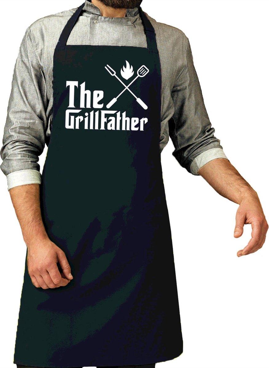The Grillfather cadeau bbq/keuken schort navy blauw voor heren - kado sbarbecue chort voor heren - v