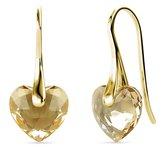 Yolora dames oorbellen met Kalpa Camaka kristal hartje – 18K Geelgoud vergulde oorhangers  - YO-E118-YG-GS