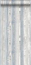 ESTAhome behang hout motief blauw en grijs - 148626 - 53 x 1005 cm