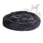 Luxe katten & hondenmand - Donut - Heerlijk zacht - Fluffy - Antraciet - 100 cm - Size L