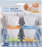 Eierdoppen met voetjes 4x stuks - Kinder Ontbijttafel en Pasen artikelen
