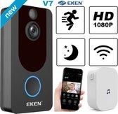 EKEN V7 FULL HD video deurbel met camera - inclusief Oplaadbare Samsung Batterijen - Inclusief Gong - Nederlandse gebruiksaanwijzing