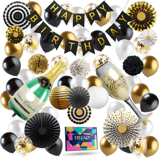 Fissaly® 74 Stuks Goud, Zwart & Wit Geslaagd Decoratie Feestpakket met Confetti Ballonnen – Helium – Latex