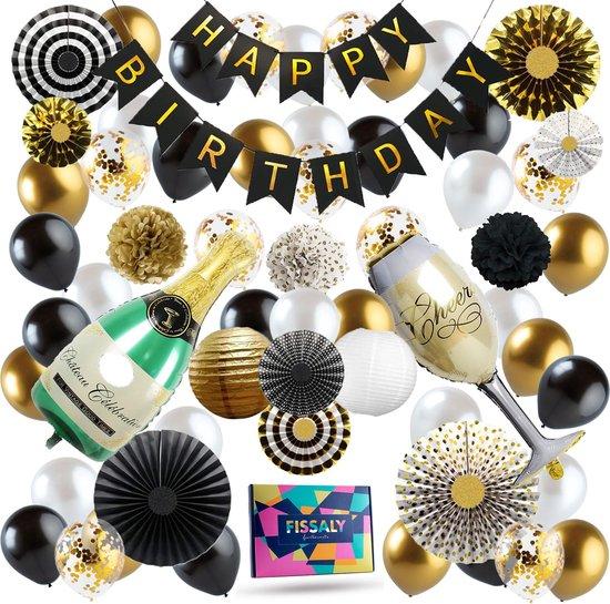 Fissaly® 74 Stuks Goud, Zwart & Wit Decoratie Feestpakket met Confetti Ballonnen – Happy Birthday - Helium – Latex