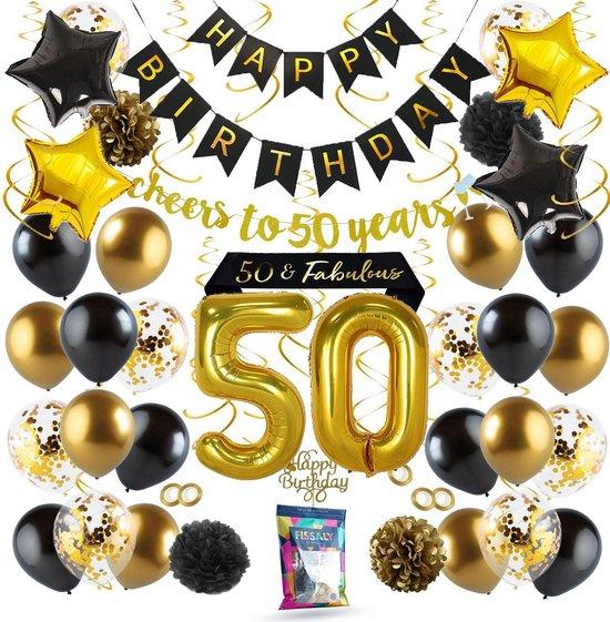 Fissaly® 50 Jaar Sarah & Abraham Verjaardag Decoratie Versiering – Ballonnen – Jubileum Man & Vrouw - Zwart, Goud & Wit
